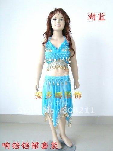 Танец живота костюм топ бюстгальтер и юбка fit детская рост 90-130 см, дети От 6 до 13 лет 6 цветов на выбор