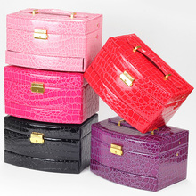 High imitation leather Multifunctional automatic big jewelry box/jewellery box for princess box with a mirror inside