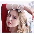 De Calidad superior Collar de Perlas 7-8mm Genuino Blanco Perla Cadena Suéter Para Las Mujeres de Joyería de Perlas.