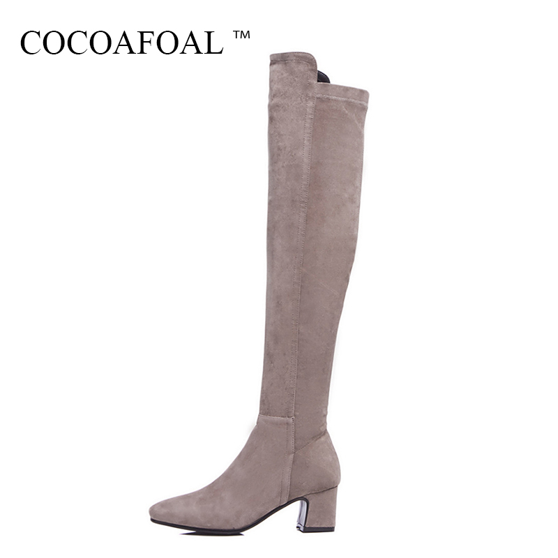 COCOAFOAL Genuine Leather Over The Knee Boots Fashion Women High Heeled Shoes Plus Size Winter Black Chelsea Thigh High Boots cocoafoal women sexy black high heeled shoes genuine leather thigh high boots plus size 33 41 winter chelsea over the knee boots