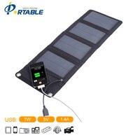 7 W Plegable Bolsa de Carga Solar Panel Solar de Alta eficiencia Al Aire Libre Con Cuatro Pliegues S07 Cargador Solar Para El teléfono Móvil