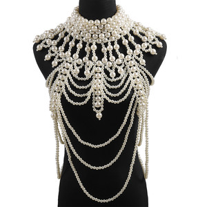 Image 1 - Miwens 2019 Luxury Unique Simulated Pearl Body Chains Jewelry For Women Bridal Wedding Gift Big Statement Jewelrys Brand Design