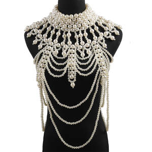 Jewelry Body-Chains Pearl Luxury Brand Bridal Design Women for Wedding-Gift Big-Statement
