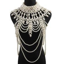 Miwens 2019 luxo único simulado pérola corpo cadeias jóias para mulheres presente de casamento nupcial grande indicação jóias design da marca