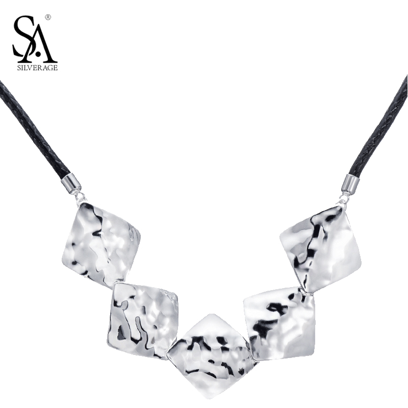 SA SILVERAGE Silver Necklace Choker Geometric Pendant Leather Rope Genuine 925 Sterling Silver Necklace Women Party Gift multilayered geometric charm choker necklace