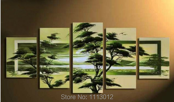 Hot Tree Oil Painting 5pcs On Canvas High Quality Pine Hill Lake Modern Wall Picture For Living Room Abstract Home Decoration