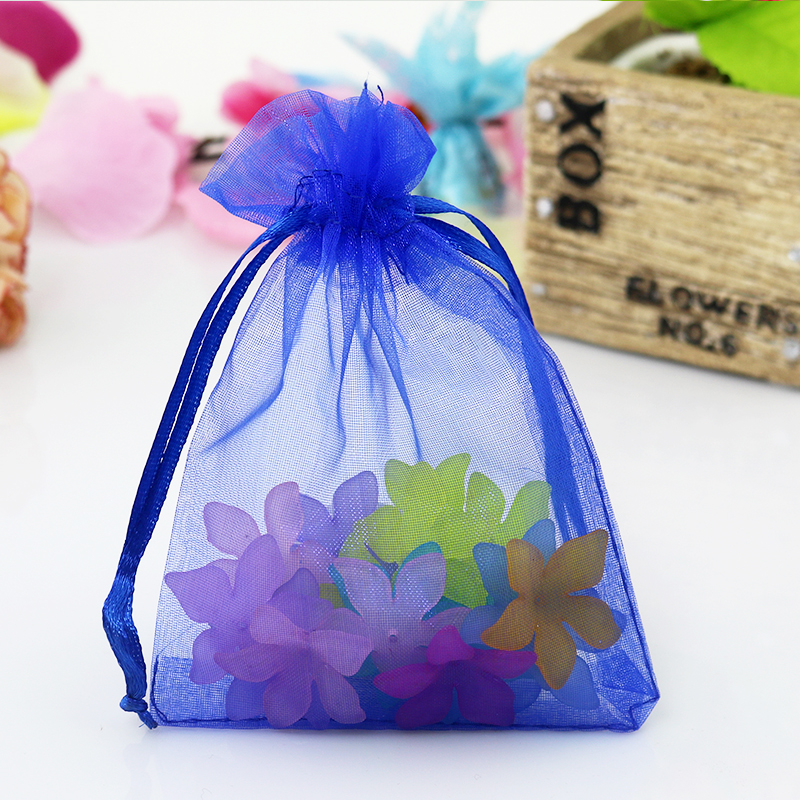 Hot 50pcs Lot Organza Jewelry Bag 30x40cm Royal Blue Wedding Pouches Drawable Cosmetics Packaging Gift In Display From