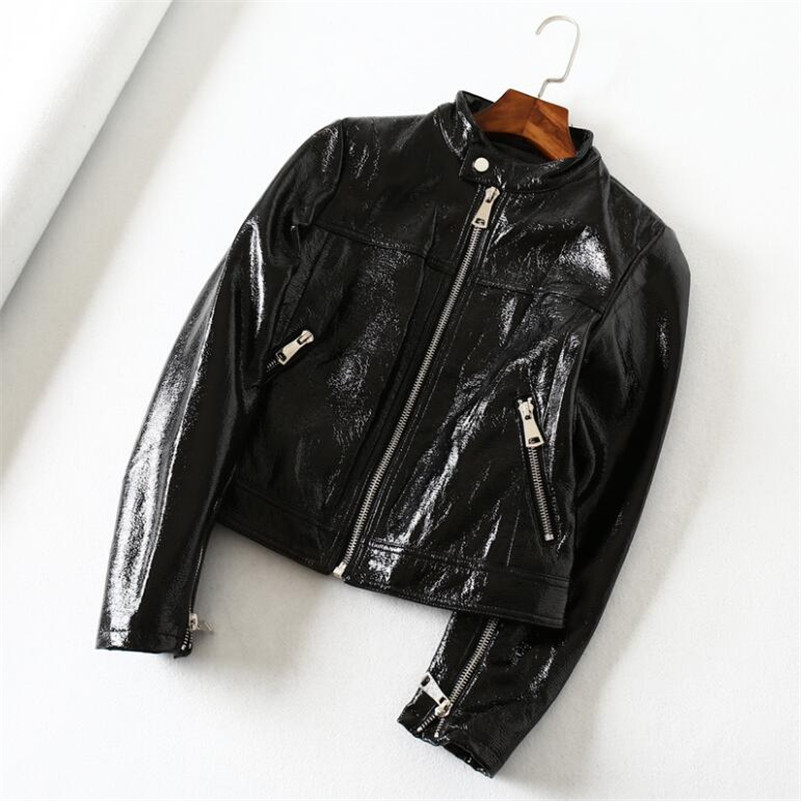 2019 Spring Autumn fashion stand collar was thin wild black shiny PU   leather   short motorcycle   leather   coat women's jacket r980