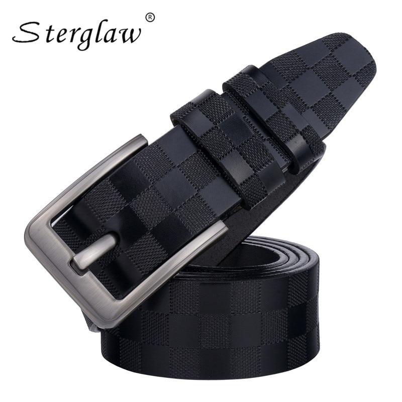 3.8cm Classic lattice leather genuine leather   belt   Men's luxury man brand cowboy   belts   for men jeans ceinture homme 125cm C217