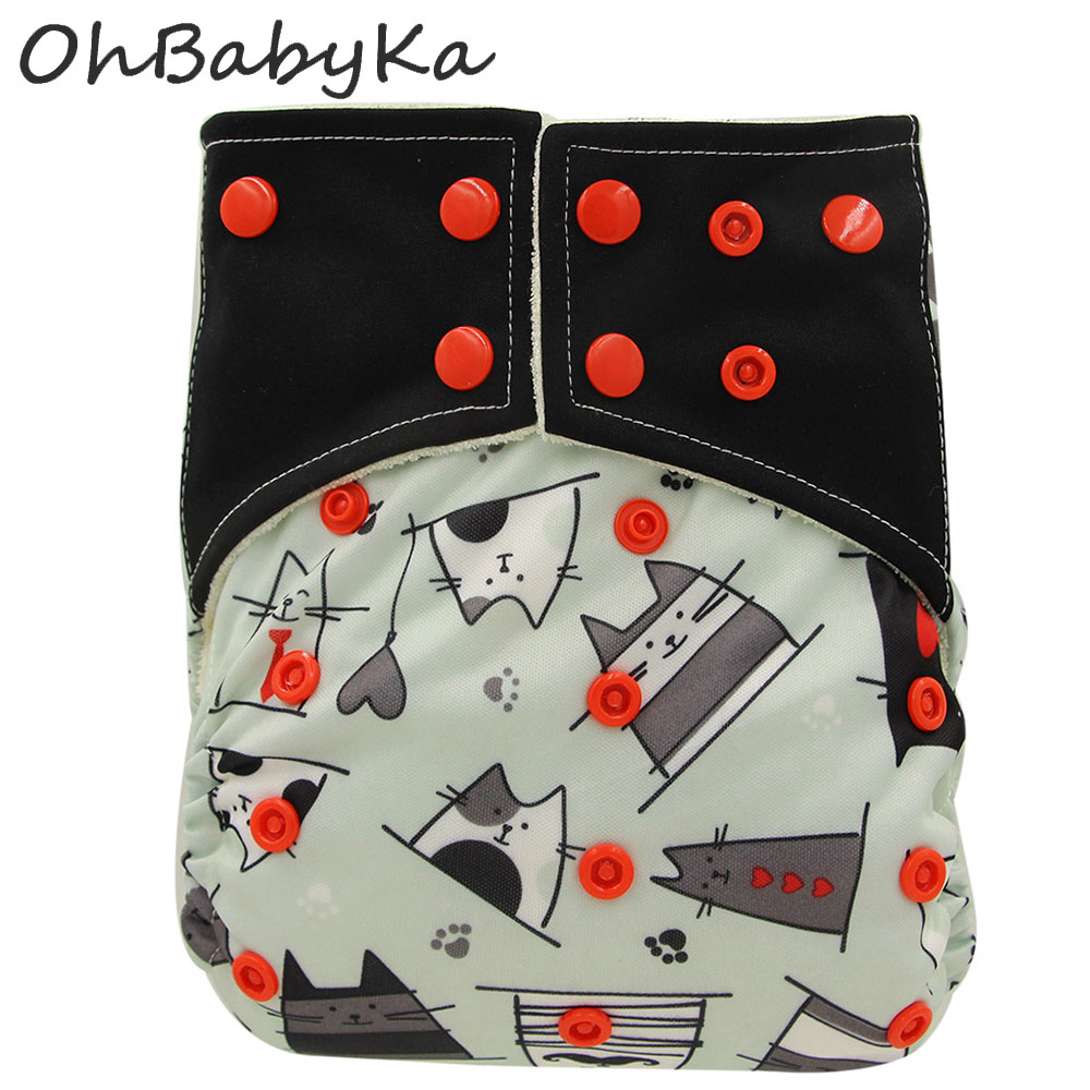 OhBabyka Adjustable Baby Nappies with Double Gussets All-In-Two AI2 Bamboo Charcoal Reusable Baby Diapers Cover Couche Lavable