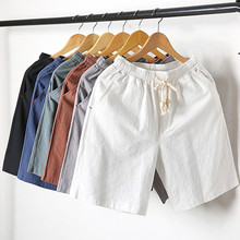 2018 summer New Fashion Mid Elastic Waist Loose Casual Solid Quality Summer New Flax Man Blue White Beach Thin Linen Men Shorts
