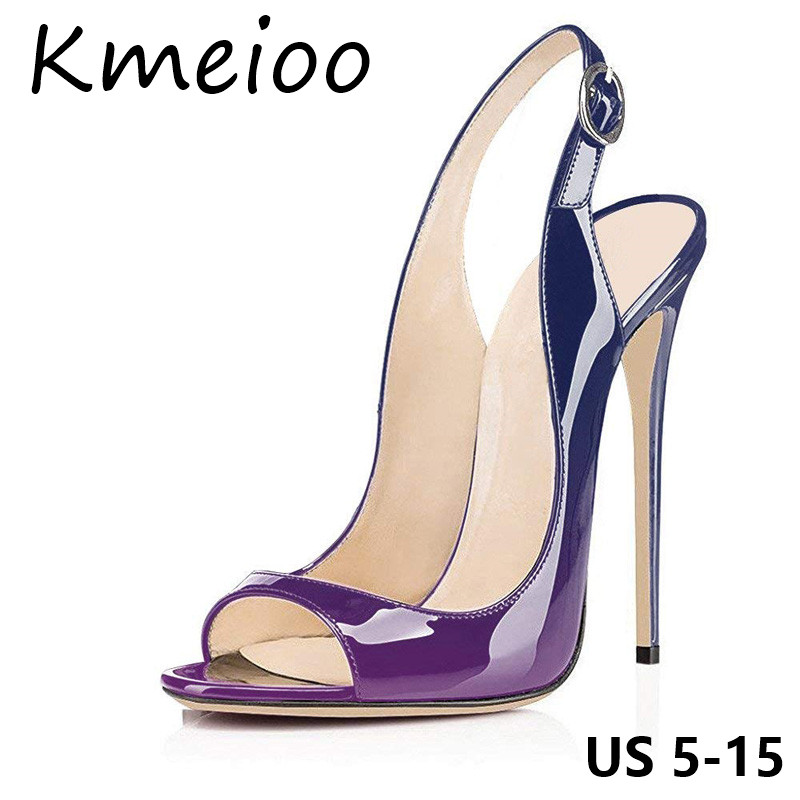 Kmeioo 2019 Plus Size Women Shoes Sexy Leopard Pumps Peep Toe High Heels Slip-on Slingback Stiletto Party Wedding Evening Shoes