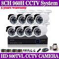 8CH DVR 8 canais gravador de segurança HDMI e 8 pcs 800TVL 24LED monitor de câmeras de cctv kit câmera de vigilância de vídeo ao ar livre sistema