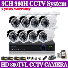 8CH DVR eight channel safety recorder HDMI and 8pcs 800TVL 24LED outside monitor cameras cctv package surveillance digital camera video system