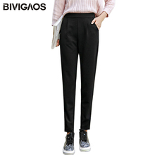 BIVIGAOS 2018 Spring Summer New Ladies Korean OL Black Harem Pants Breathable Thin Casual Pencil Pants Simple Trousers For Women cheap Ankle-Length Pants Elastic Waist Viscose Polyester Knitted calca feminina Flat England Style Pockets None Regular Solid