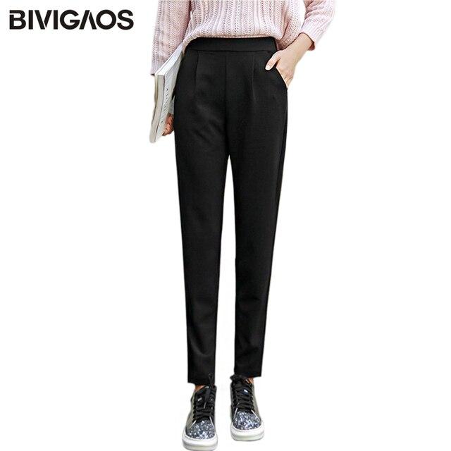 BIVIGAOS wiosna lato nowe panie koreański OL czarne spodnie Harem oddychające cienkie spodnie ołówkowe na co dzień prosty garnitur spodnie dla kobiet