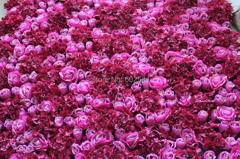 SPR Free-švestka / hot pink-5ks / lot Umělé hedvábí růže květ zeď svatební pozadí trávník / pillarmarket dekorace