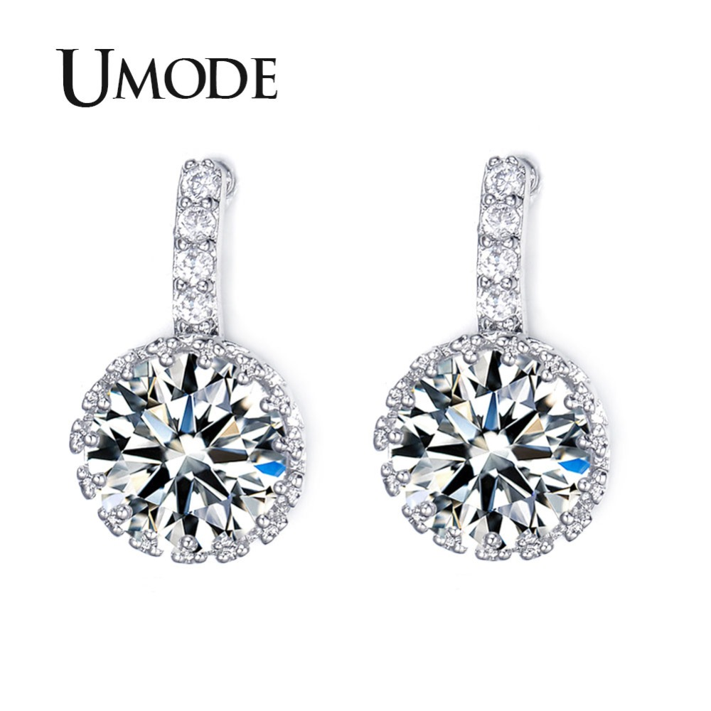 ad0b42bdf68 Detail Feedback Questions about UMODE Brand Brincos Multi Prongs Crystal Stud  Earrings For Women White Gold Color Round CZ Stone Lady s Piercing Earrings  ...