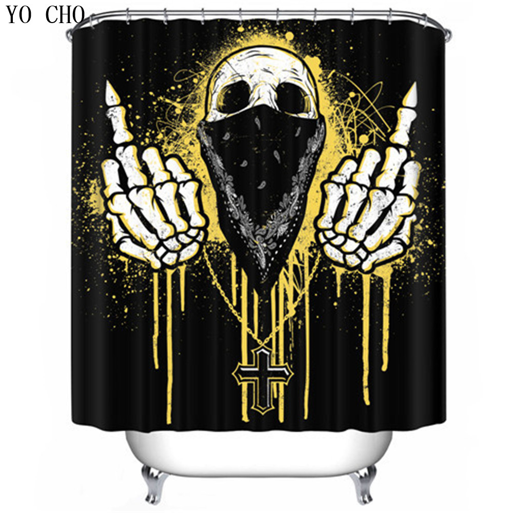 Halloween shower curtain hooks - 3d Halloween Shower Curtain Nightmare Before Christmas Modern Unique Waterproof Bathroom Fabric Cat Skull Bath Curtain