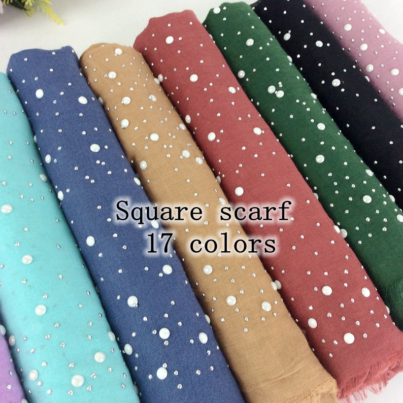 Square Scarf Plain Cotton Headscarf With Studs And Pearls Scs