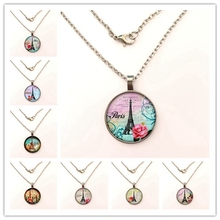 GDRGYB 2019 Real Sale Collier Collares Eiffel Tower Glass Pendant Necklace Charms Paris Dome For Jewelry stylish eiffel tower pendant necklace for women