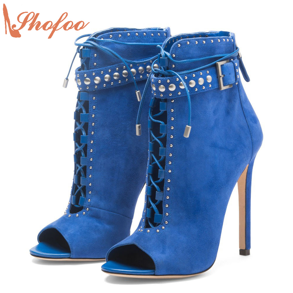 Shofoo Blue Sexy Genuine Leather Fashion Stiletto Ankle Open Toe Boots High Heels Rivets Shoes Woman Party Dress Large Size 4-16