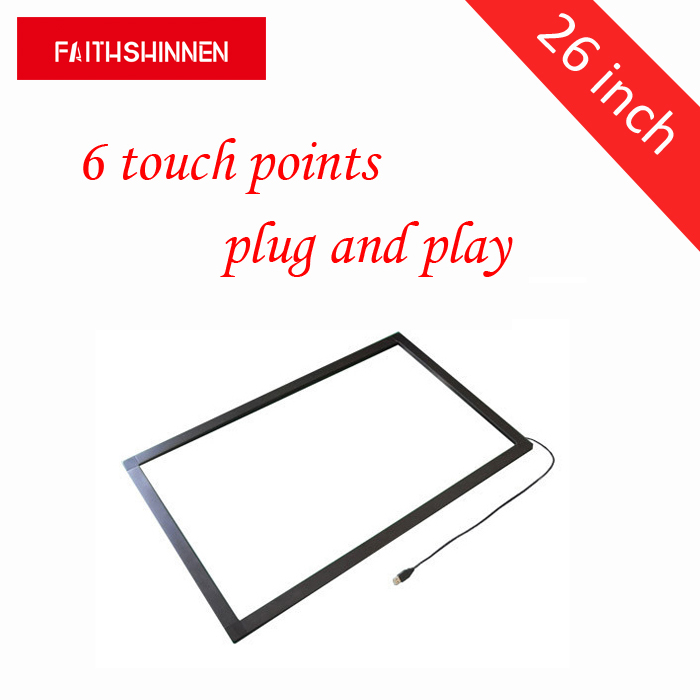 26 inch IR touchscreen multi touch overlay frame kit touch screen frame overlay 6 points multi touch frame touch screen no glass new type 14 inch 16 9 infrared ir touch screen ir touch frame overlay 2 touch points plug and works multi points