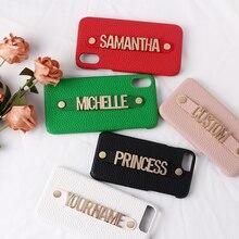 Segurando cinta de metal personalização pebble grão couro caso do telefone capa para o iphone 12 11 pro xs max xr 7 mais 8 8plus x