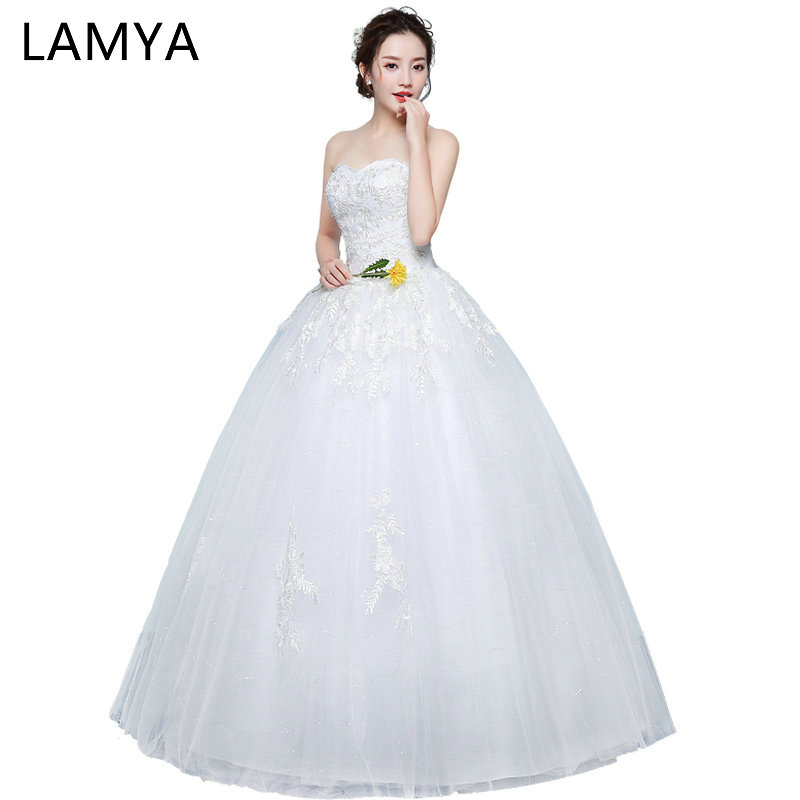 LAMYA Princess 2019 Sweatheart Wedding Dresses Off The Shoulder Wed Dress Women Ball Gown Bridal Lace Vestidos de Novia
