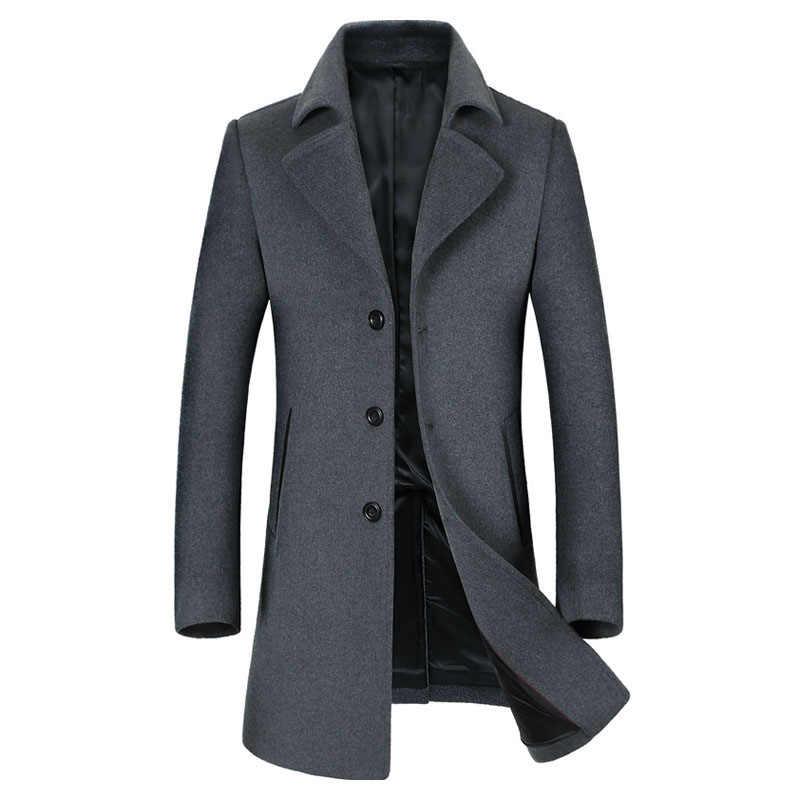 男性のウールコート冬のデザイナーファッション高品質プラスサイズウールパーカーコートの男性のオーバーコート Casaco Masculino BF1871