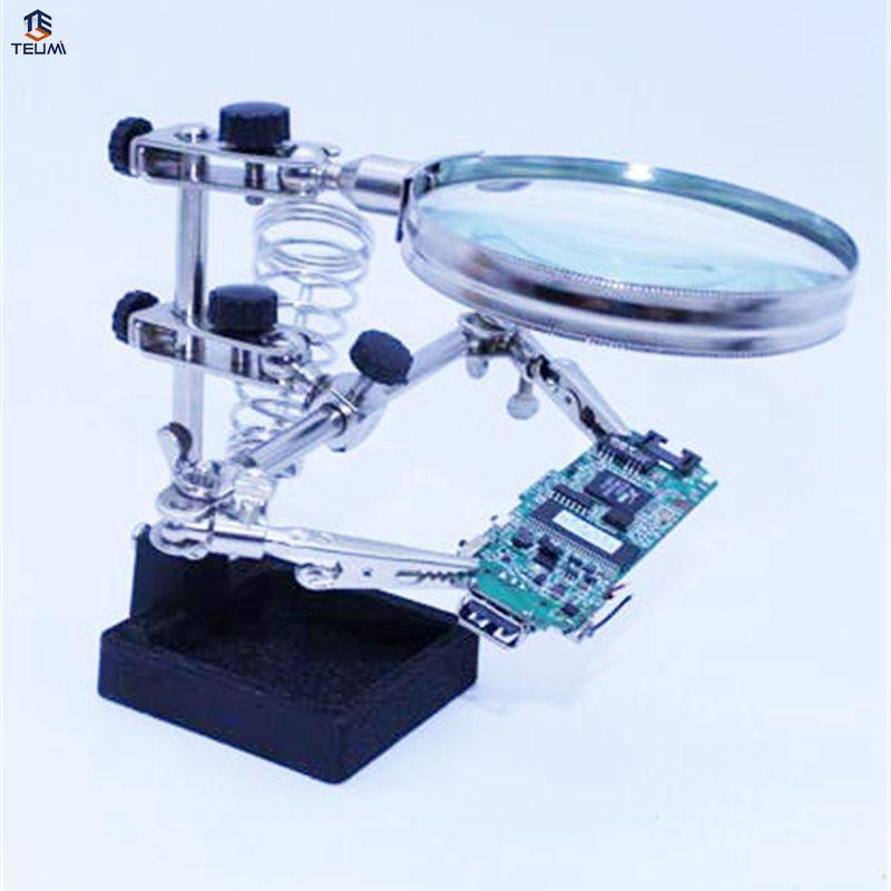 Multifunctional Soldering IRON Welding Stand Desktop Magnifier Magnifying LENS Third Helping Hands Solder Allegator Clips