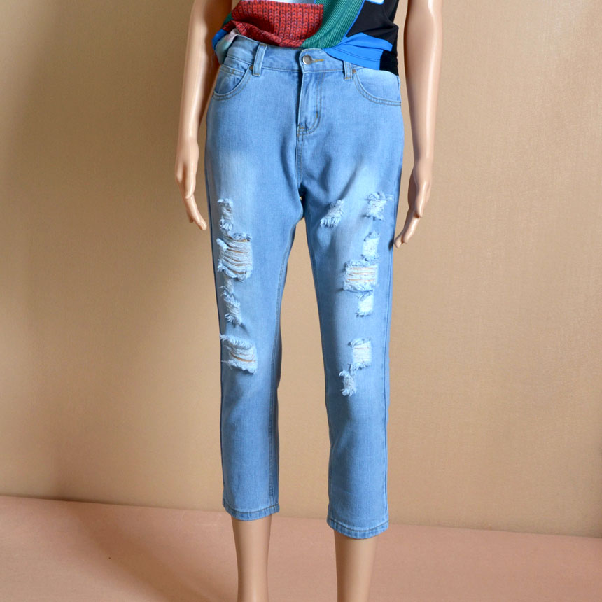 0 Ripped Casual Street Fashion Denim Summer Jeans Women Light Blue Wash Denim Calf Length Pants For Women Popular Outfit Jeans