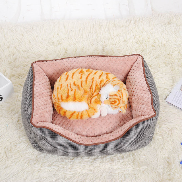 CANDY KENNEL Cotton Linen Corn Kernels Soft Pet Dog Cat Bed for Small Medium Bed House Cushion With Removable Pet Mat Nest D1129
