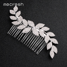 Mecresh Crystal Leaf Bridal Hair Combs Wedding Accessories Silver Color Bride Ornaments Queen Tiara Jewelry FS263