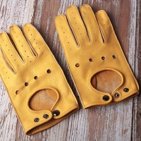 Top Quanlity Cow Leather Genuine Leather Driving Gloves Mens