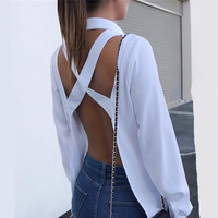 Frauen Kreuzmuster Open Back Bluse Shirts Tops Sexy Backless Lange Hülse drehen-unten Kragen Herbst Hemd Weiß Grau Solide Shirts