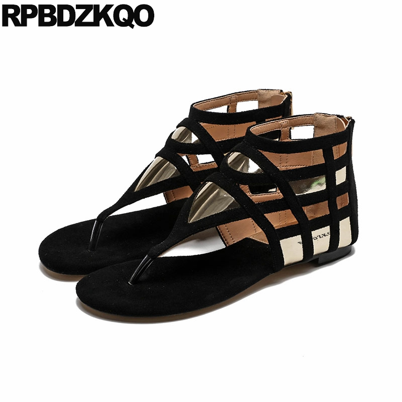 Thong Cage Black Casual Women Sandals Flat Summer 2018 Ladies Open Toe Designer Booties Strap Boots Suede Comfortable Shoes