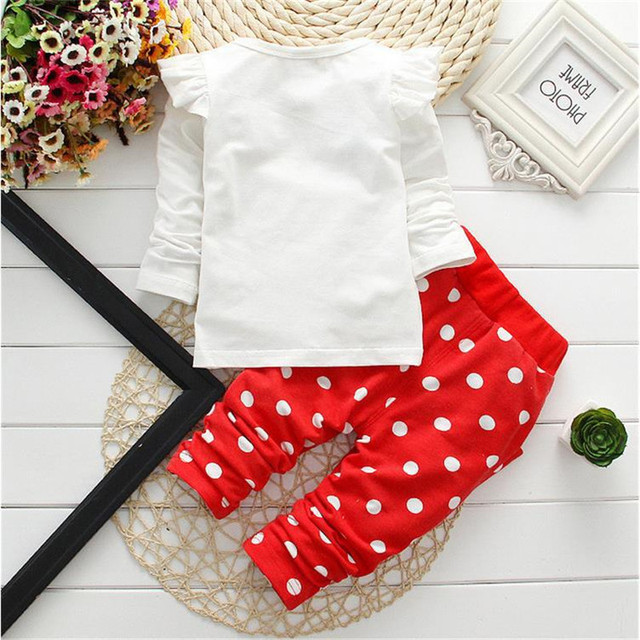 LILIGIRL Baby Girls Sport Clothes Sets 2019 Newborn Cotton Mickey T-Shirt+Polka Dot Pants Suit for Kids Tops Trousers Clothing 4