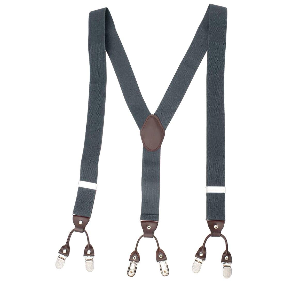 Men Trouser Suspender Adjustable Y-Shape Elastic Braces Buckle Color:Gray