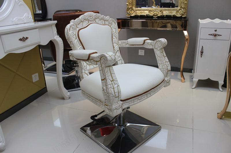 European hairdressing chair. Special hair salons haircut chair. Barber chair. Salon chair