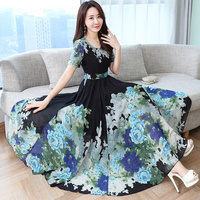 Lady Long Summer Dress Plus Size Clothes Women Short Sleeve Floral Print Long Chiffon Dresses