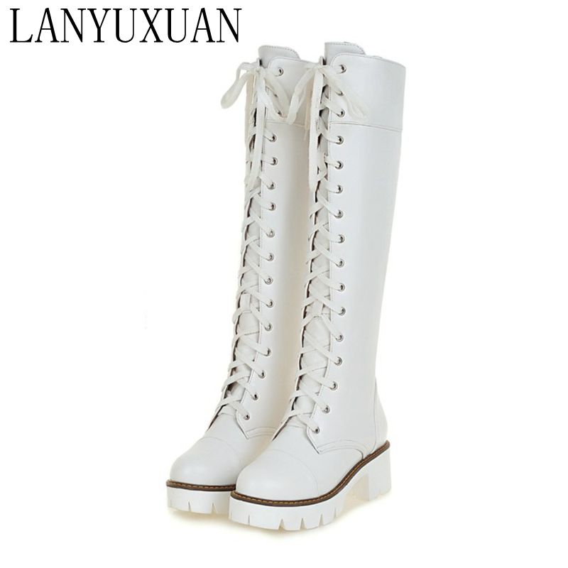 2017 Winter Boots Big Size 34-43 Over The Knee Boots For Women Sexy High Heels Long Winter Shoes Round Toe Platform Knight 818-7 2016 new big size 34 43 winter women lace botas sexy round toe high heel shoes solid pu white over the knee boots au 703 5
