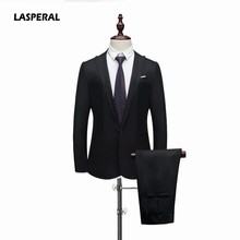 LASPERAL Suits Jacket+Pants 2019 Fashion Slim Green Linen Mens Suits Wedding Party Smoking Tuxedo Mens Casual Work Wear(China)