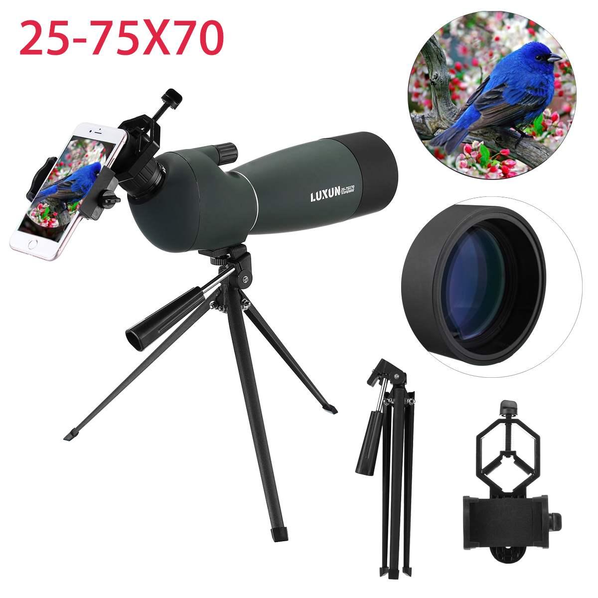 Télescope oculaire monoculaire optique antichoc étanche 25-75X70 HD pour l'observation des oiseaux