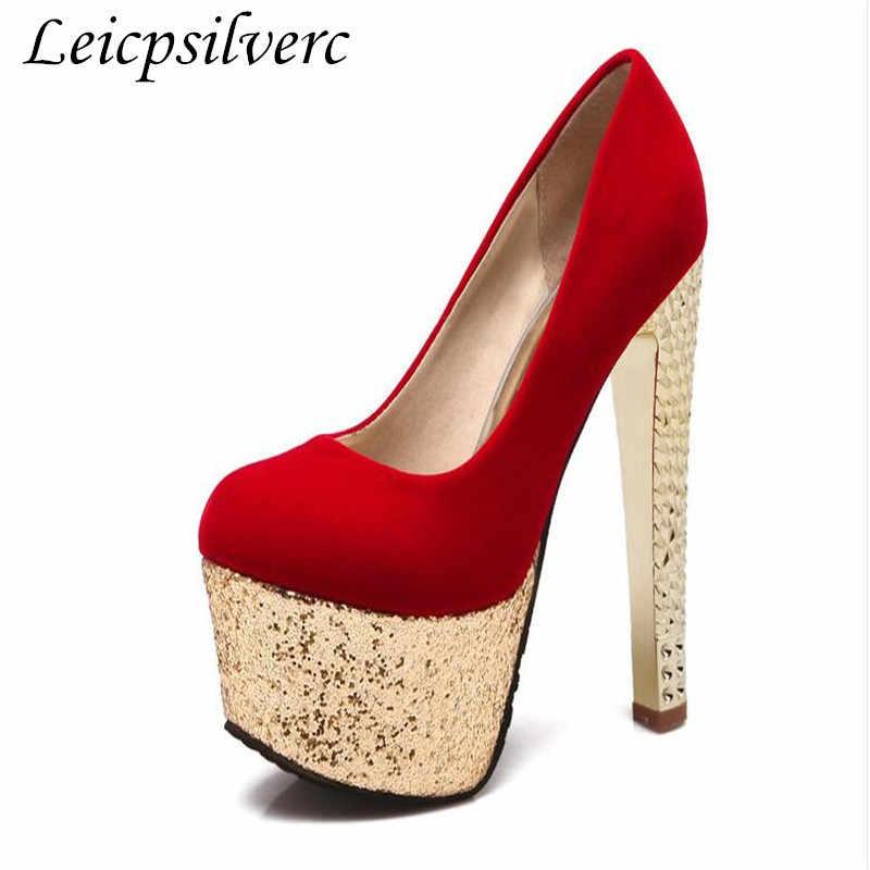 Wiosna i jesień nowych kobiet buty ślubne buty na wysokim obcasie wysoki obcas wodoodporny stół cekiny grube z 16cm duży rozmiar 34-48).