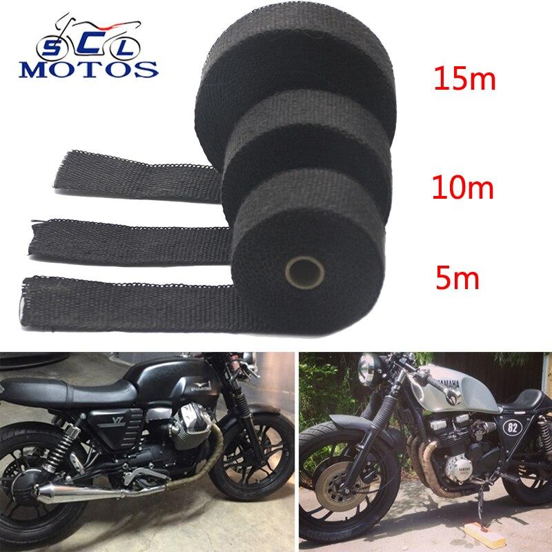 Sclmotos-5 10 15 M cinta térmica tubo de escape cabecera resistente al calor con cinta de recubrimiento con acero lazos de la motocicleta del coche de partes de carreras