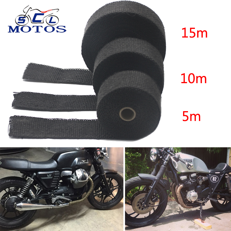Sclmotos-5 10 15M Thermal Tape Exhaust Pipe Header Heat Resistant Wrap Tape With Steel Ties Car Motorcycle Intake Parts Racing