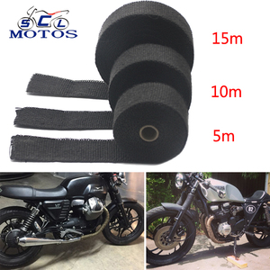 Sclmotos-5 10 15M Thermal Tape Exhaust Pipe Header Heat Resistant Wrap Tape with Steel Ties Car Motorcycle Intake Parts Racing(China)