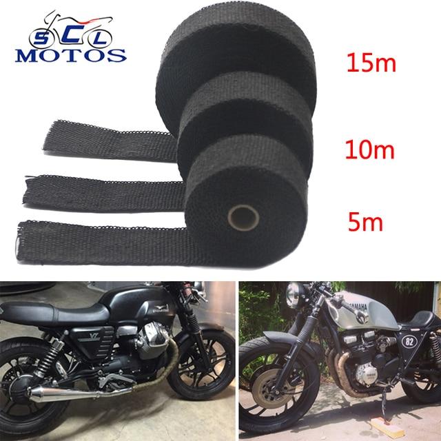 Sclmotos-5 10 15M Thermal Tape Exhaust Pipe Header Heat Resistant Wrap Tape with Steel Ties Car Motorcycle Intake Parts Racing