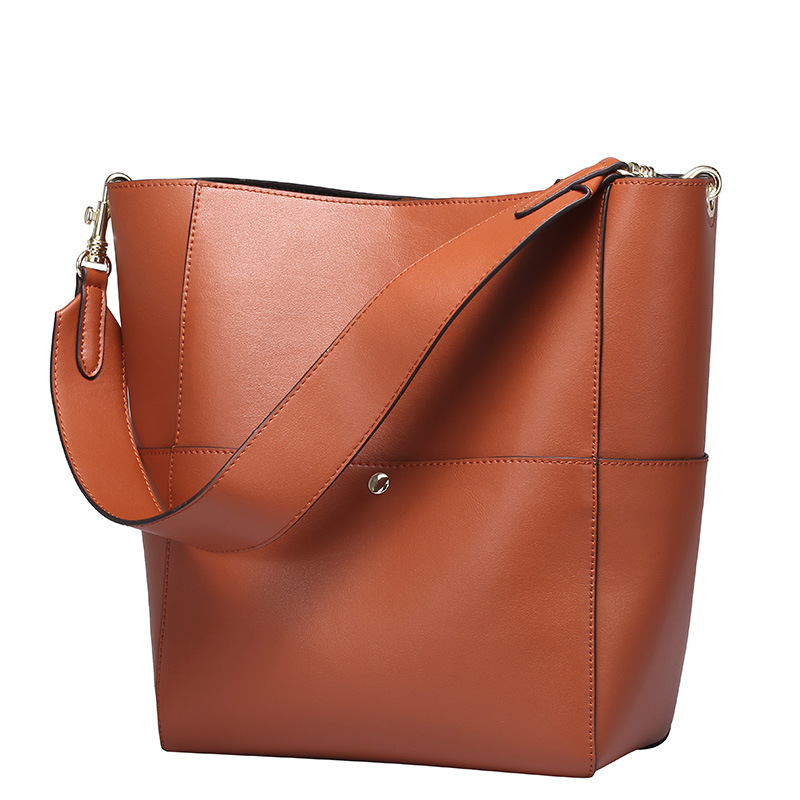 Autumn Genuine Cowhide Leather Bucket Bag Vintage High Capacity Totes Wide Strap Handbag Composite Bag For Women